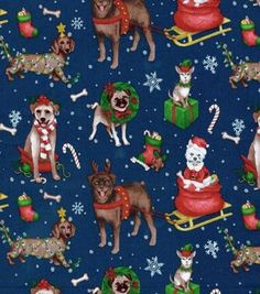 Holiday Inspirations Christmas Fabric Christmas Dogs On Sled