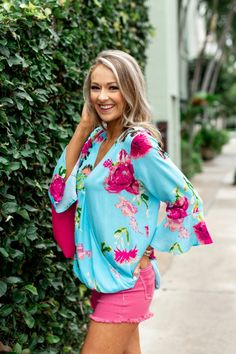 Floral Affection Wrap Blouse- Sky Blue – The Pulse Boutique Trendy Jeans, Drape Cardigan, Henley Top, Wrap Blouse, Distressed Skinny Jeans, Grey Hoodie, Floral Blouse, Pink Sweater, Ruffle Sleeve