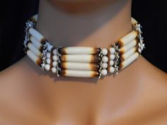 Handmade Native American chokers | Beautiful Native American Handcrafted Bone Choker with Leather and ...