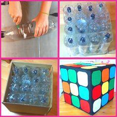 Asiento puff con botellas inspirado en el cubo de rubik, manualidad reciclada