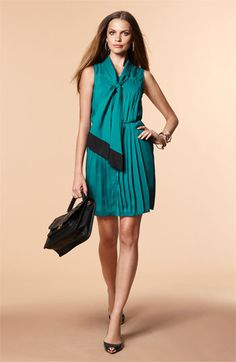 Taylor Dresses pleated tie neck shirtdress. Nordstrom $128