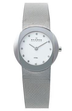 mesh strap silver watch
