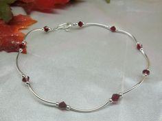 Anklet Ankle Bracelet & Garnet Red by PearlsGemsnCrystals on Etsy, $6.95