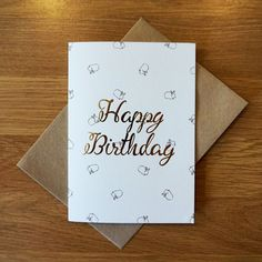 Bunnies foil embossed birthday card by helloodonnell on Etsy