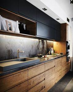New Kitchen Interior Modern Rustic Ideas Luxury Kitchen Design, Kitchen Room Design, Kitchen Layout, New Kitchen, Interior Design Living Room, Kitchen Decor, Kitchen Modern, Kitchen Ideas, Kitchen White