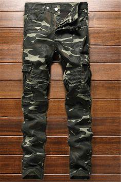 $32.68 Zippered Multi-Pocket Ribbed Insert Camo Jeans