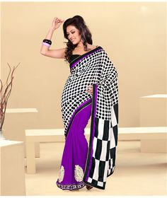 """Saree Black and White patterns dot and checker made of Georgette fabric, blouse can be customized up to 42"""" Note : Colors may vary than they appear in picture (This happened because of all computer monitor has different color profiles calibrated)"""
