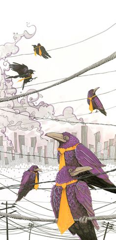 art print, purple ravens with orange neckties on a telephone wire, industrial cityscape. $28.50, via Etsy.
