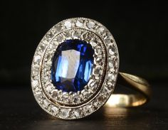 1910s Diamond and Sapphire Double Halo