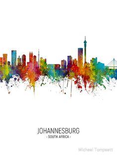 Displate Poster Watercolor art print of the skyline of Johannesburg, South Africa johannesburg South Africa Art, South African Flag, Framed Prints Uk, Poster Prints, Art Prints, Afrika Festival, Johannesburg Skyline, Cityscape Art, Africa Travel