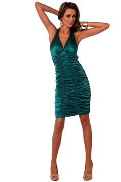 Sexy Womens Evening Ruched Cocktail Party Satin Dress