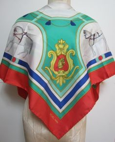 RICHEL PARIS RED GREEN AND BLUE ROYAL HORSES DESIGN PATTERN SILK SCARF $75.99