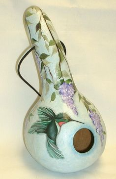 Hummingbird with Wisteria Flowers Gourd by FromGramsHouse on Etsy,