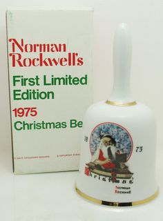 VTG NORMAN ROCKWELLS FIRST LIMITED EDITION 1975 CHRISTMAS BELL Porcelain Gold