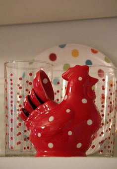 I got this little rooster - measuring spoon holder for the girls, in different colors, and it's adorable. who can not love a polka dot rooster? :) polka dot the glasses! My Favorite Color, My Favorite Things, Rooster Decor, Red Rooster, Red Hen, Deco Boheme, Red Cottage, Chickens And Roosters, Kitchen Cupboards