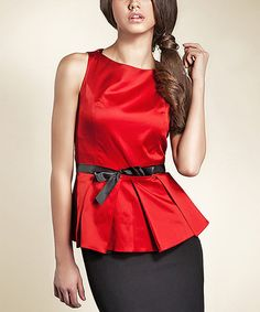 Look at this #zulilyfind! Red & Black Bow Boatneck Top by NIFE #zulilyfinds