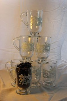 Libbey Snowflakes & Swirls set of 7 Mugs Glasses Footed Cups Christmas Excellent #Libbey