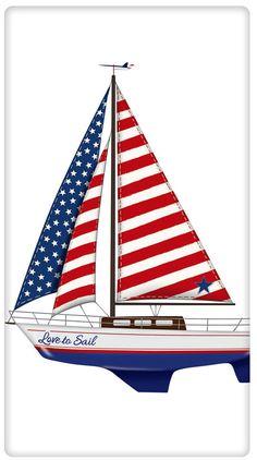 Flag Sail Boat 100% Cotton Flour Sack Dish Towel Tea Towel