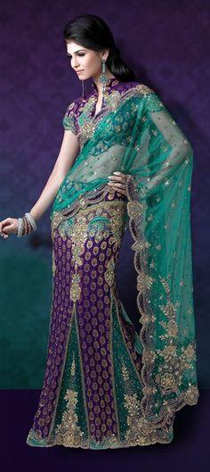 79782, Lehngas Style Sarees, Net, Jacquard, Stone, Valvet, Patch, Bugle Beads, Dabka, Swarovski, Aari, Blue, Green Color Family