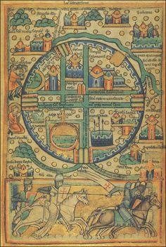 Knights Templar Crusader Ancient Map of Jerusalem.