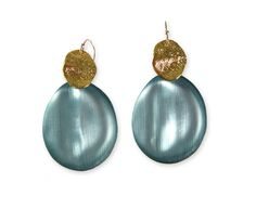Alexis Bittar Gold Wafer Earrings - Grey Blue