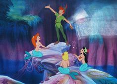 "Peter Pan ""Peter and the Mermaids"" Limited Edition Cel (Walt Disney, Peter Pan - Available at 2015 December 13 - 14 Animation. Images Disney, Art Disney, Disney Magic, Disney Icons, Disney Wiki, Disney Pictures, Peter Pan Disney, Mermaid Lagoon, Mermaid Art"