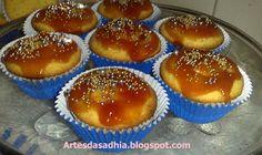 Artes da Sadhia na cozinha : Cupcake de Fubá com recheio e cobertura de goiabada