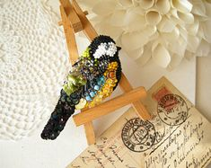 Blue Tit handmade bird brooch Beaded brooch Tomtit handcrafted pin Animal beadwork Tit Titmouse jewelry Nature Inspired Rainbow jewelry bird