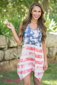 Show your American Pride with this lightweight patriotic dress! Featuring a vintage American flag print in navy, beige, and red, it has stars on the bodice and stripes at the skirt. The fabric is soft and slightly textured, making it easy to wear all day long!
