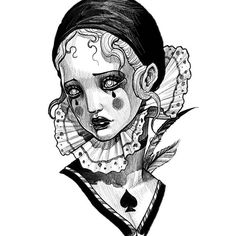 Clown Tattoo, Sad Art, First Art, Costume Makeup, Inktober, Blackwork, Character Art, Art Drawings, Weird