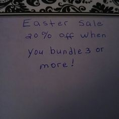 From now to Easter**** 20% off when bundling 3 items Other