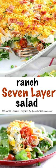 Ranch 7 Layer Salad {Loaded with Flavor!} - Spend With Pennies Ranch 7 Layer Salad is loaded up with fresh veggies, leftover turkey and a homemade ranch style dressing! It's a definite crowd pleaser! Beef Macaroni, Macaroni Casserole, Healthy Salads, Healthy Eating, Healthy Recipes, Fruit Salads, Jello Salads, Salad Bar, Soup And Salad