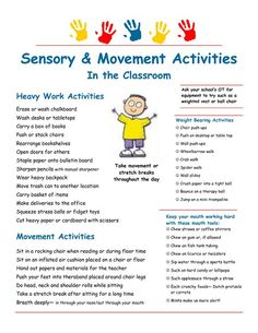 Sensory strategies & heavy work suggestions for the classroom: