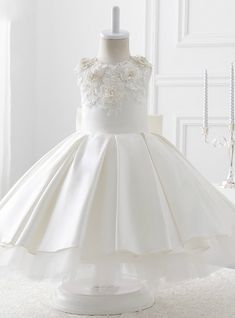 Evening White Satin With Bow Ball Gown Flower Girl Dresses 2017 White Flower Girl Dresses, White Dress, Girls Dresses, Communion Dresses, White Satin, Sleeve Styles, American Girl, Ball Gowns, Bridal