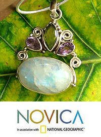 Moonstone & amethyst pendant necklace, 'Aura' at The Animal Rescue Site