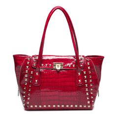 High Gloss Red Shoulder Bag with Studs.