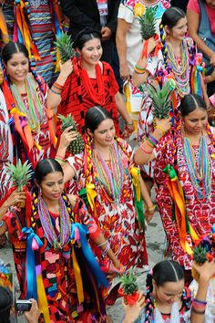 A Flor de Pina dance.  The Pineapple dancers at the Guelaguetza Festival, from the coastal region of Tuxtepec, Oaxaca, MEXICO.