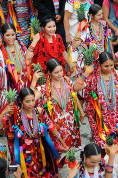 A Flor de Pina dance.  The Pineapple dancers at the Guelaguetza Festival, from the coastal region of Tuxtepec, Oaxaca, MEXICO.
