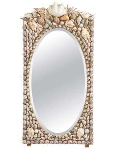 Large 1940s English Shell Encrusted Wall Mirror