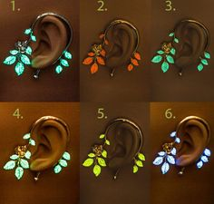 Glowing ear cuff, leaf earcuff  Looking for something unique? This is it! :) Great for evening parties, a night out or whenever you feel like