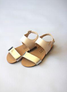 Manuela de Juan Zoe Two Tone Sandals in Silver/Nude