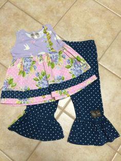 Matilda Jane Good Hart Outfit Set Great Lakes Ruffles Pants Lush Sara Top 2 | eBay
