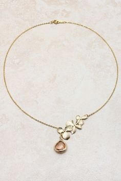 14K Champagne Lariat Teardrop Necklace on Emma Stine Limited -  - Come summertime, I'll be figuring out how to make this for myself!