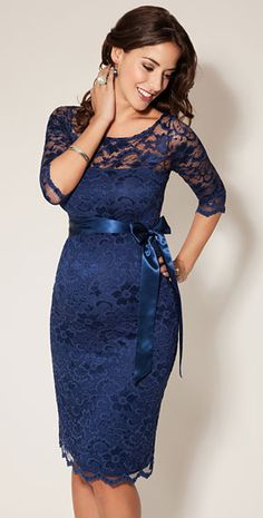 Amelia Lace Maternity Dress Short (Windsor Blue) by Tiffany Rose - as worn by TV3's Sybil Mulcahy