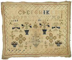 Merklap Maakster: Gorter, Antje Dirks Vervaardigingsdatum: 1835 Afmeting: 31.5 x 38.0 cm Plaats vervaardiging: Kootstertille