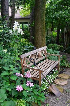 bench on garden path