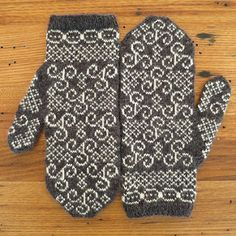 Inspired by the prehistoric stone carving at Newgrange in Ireland these mittens have an intricate design featuring Celtic spirals.