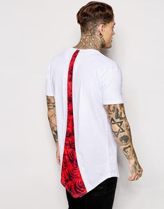 SikSilk Longline T-Shirt With Curved Hem and Rose Back Print - ShopStyle Tees T Shirt Websites, Shirt Maker, Mode Style, White Fashion, Mannequin, Swagg, Shirt Designs, Cool Outfits, Street Wear