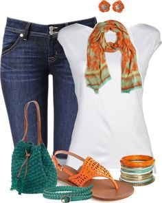 """""""Orange Floral"""" by angiejane ❤ liked on Polyvore"""