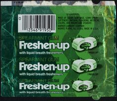Freshen-up spearmint gum 20-cent package - 1970s by JasonLiebig, via Flickr